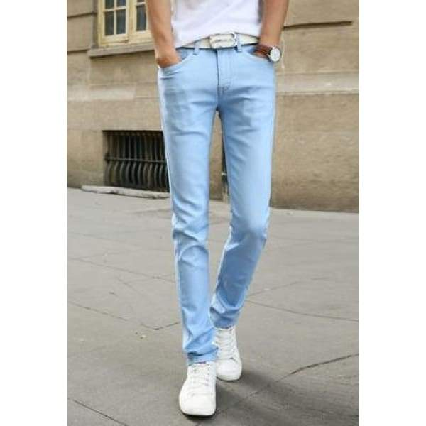 Casual Stretch Skinny Jeans Solid Colors - Sky Blue / 28