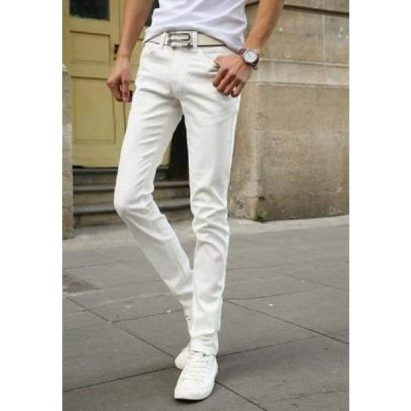 Casual Stretch Skinny Jeans Solid Colors - White / 28
