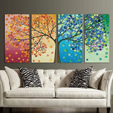 Colorful Mosaic Tree Modular Unframed Canvas 4 PCS/Set - 40cmX80cmX4