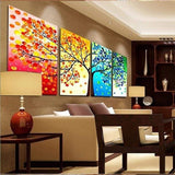 Colorful Mosaic Tree Modular Unframed Canvas 4 PCS/Set