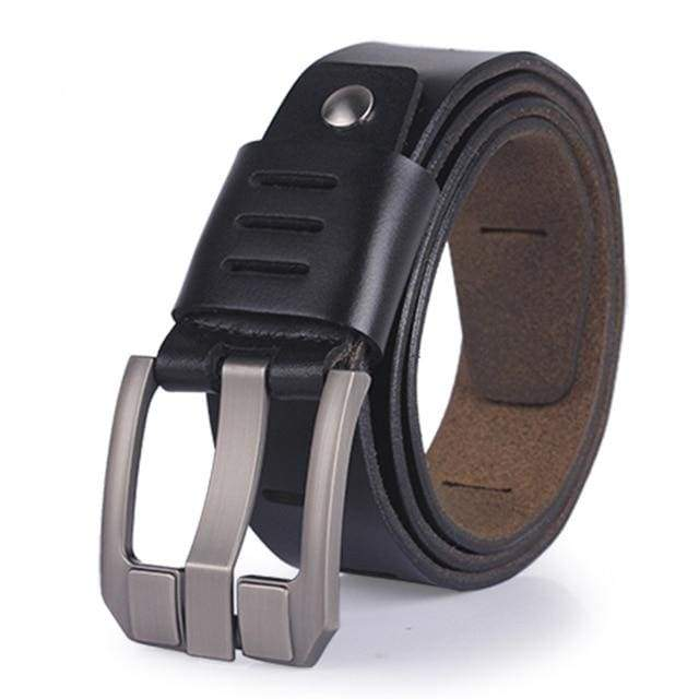 COOLERFIRE Slit Designed Pin Buckle Leather Belt - BLACK / 100cm