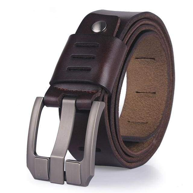 COOLERFIRE Slit Designed Pin Buckle Leather Belt - COFFEE / 100cm