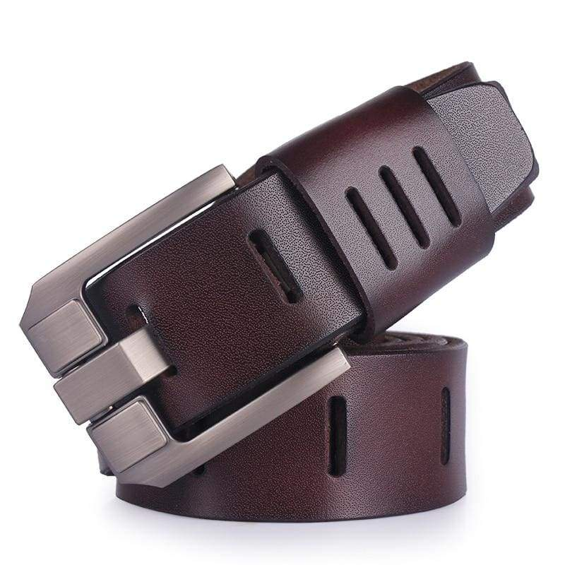 COOLERFIRE Slit Designed Pin Buckle Leather Belt