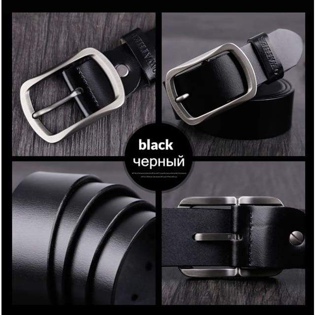 Cowhide Genuine Leather Belts - CY002 black / 100cm