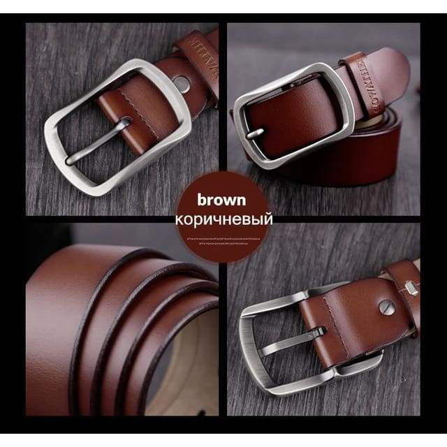 Cowhide Genuine Leather Belts - CY002 brown / 100cm