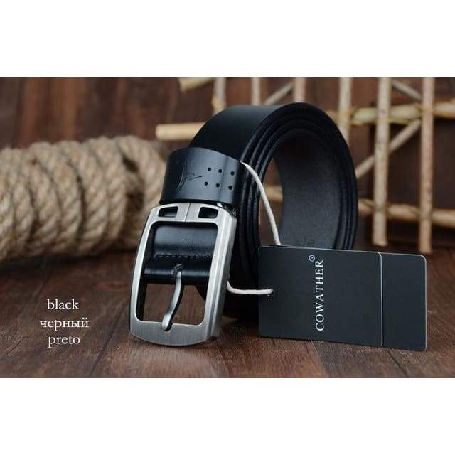 Cowhide Genuine Leather Belts - XF001 black / 100cm