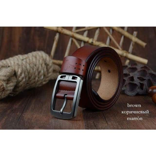 Cowhide Genuine Leather Belts - XF001 brown / 100cm