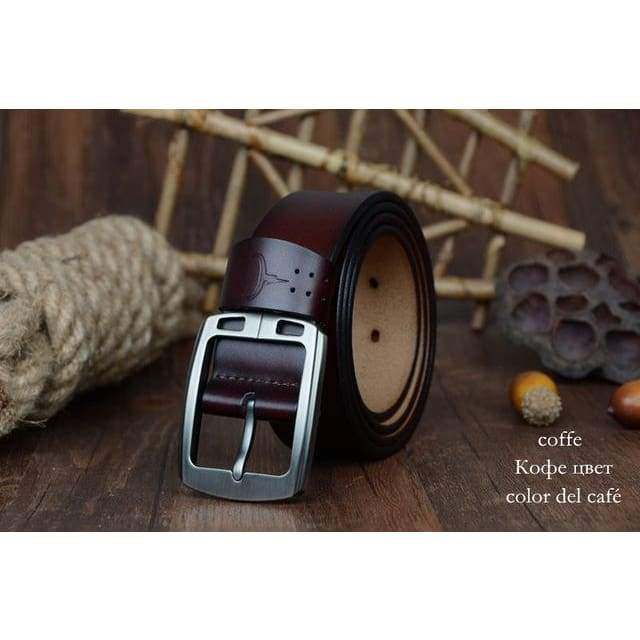 Cowhide Genuine Leather Belts - XF001 coffee / 100cm