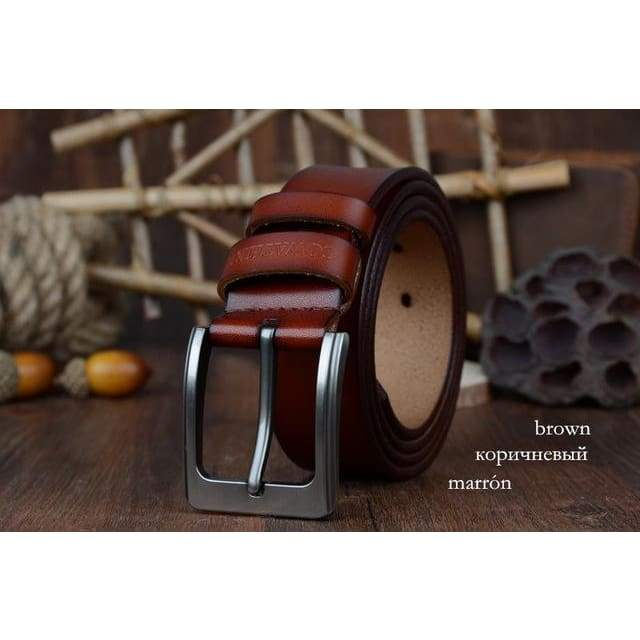 Cowhide Genuine Leather Belts - XF002 brown / 100cm