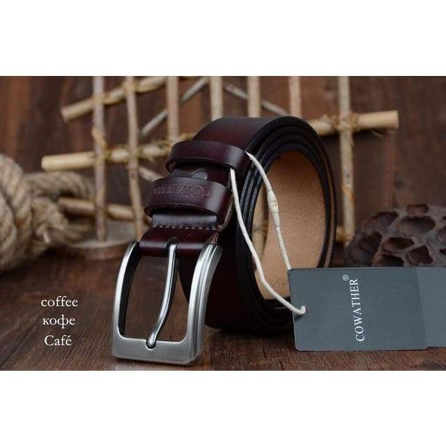 Cowhide Genuine Leather Belts - XF002 coffee / 100cm