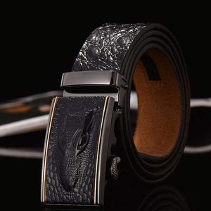 Crocodile Patterned Leather Belt - Black / 105cm