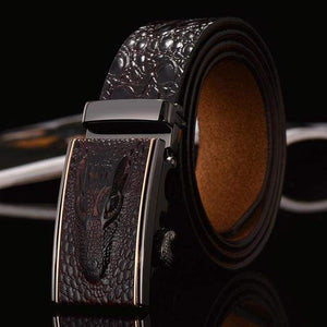 Crocodile Patterned Leather Belt - Coffe / 105cm