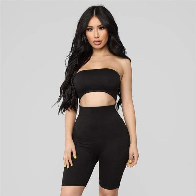Cut Out Strapless Rompers - Black / S
