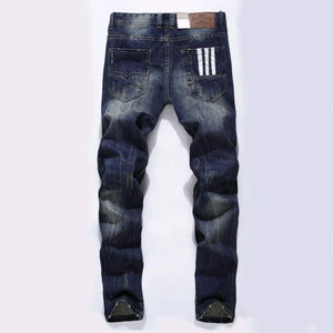 Dark Blue Color Printed Straight Ripped Jeans