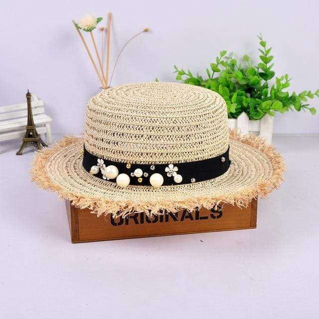 Decorated Flat Top Straw Hat - Beige001