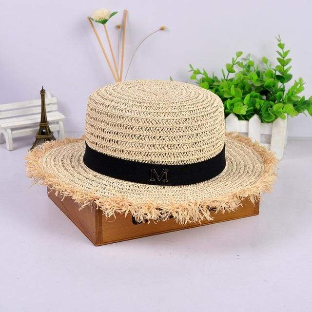 Decorated Flat Top Straw Hat - Beige002
