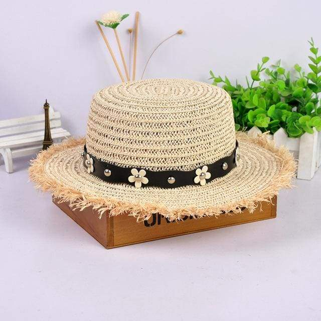 Decorated Flat Top Straw Hat - Beige003