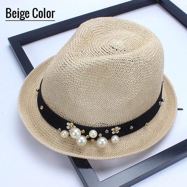 Decorated Flat Top Straw Hat - Beige005