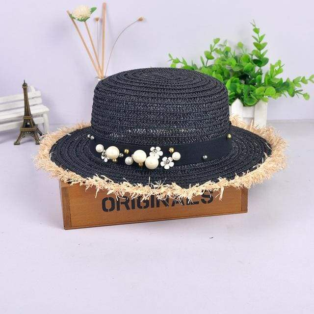 Decorated Flat Top Straw Hat - Black001