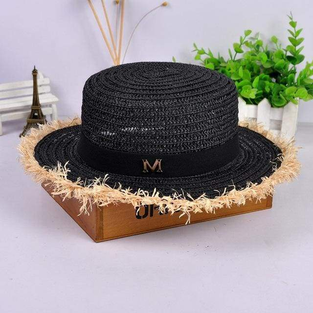 Decorated Flat Top Straw Hat - Black002