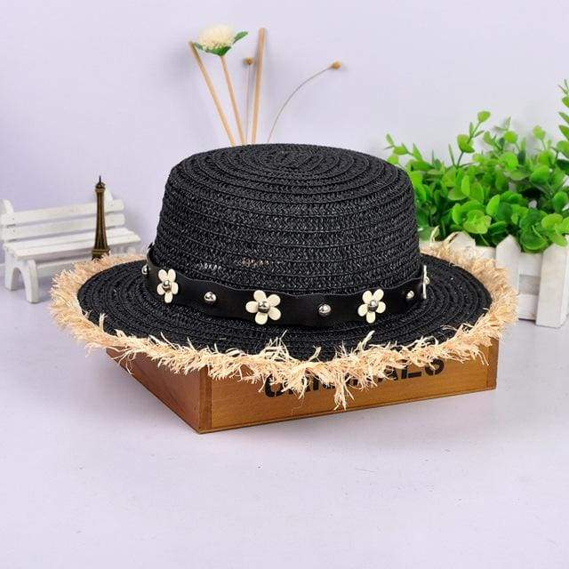 Decorated Flat Top Straw Hat - Black003