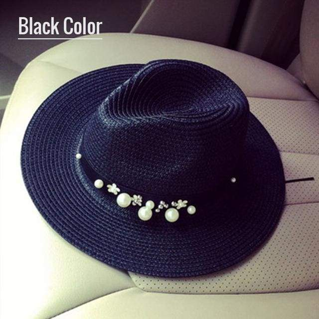Decorated Flat Top Straw Hat - Black004