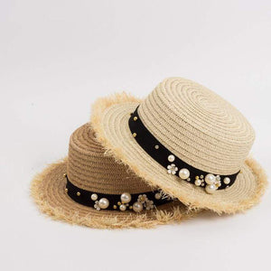 Decorated Flat Top Straw Hat