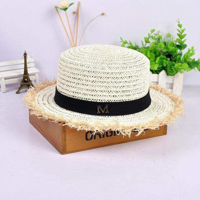 Decorated Flat Top Straw Hat - MilkWhite002
