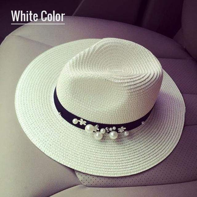 Decorated Flat Top Straw Hat - White004