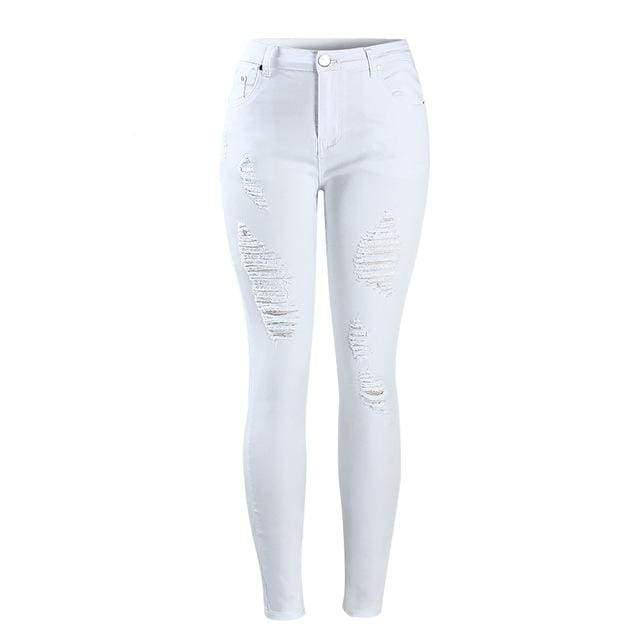 Distressed White Mid High Waist Ripped Skinny Jeans