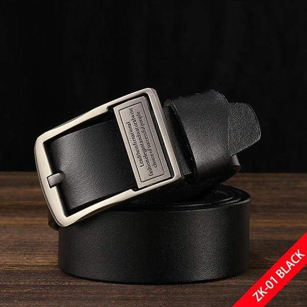 DWTS Luxury Pin Buckle Leather Belt - A black / 90cm