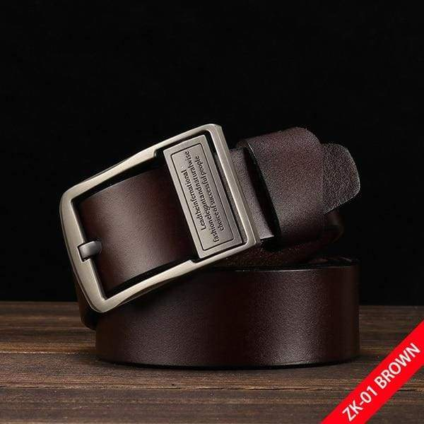 DWTS Luxury Pin Buckle Leather Belt - A coffee / 90cm
