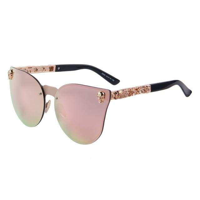 Gothic Metal Skull Frame Cat Eye Sunglasses - C02 Pink