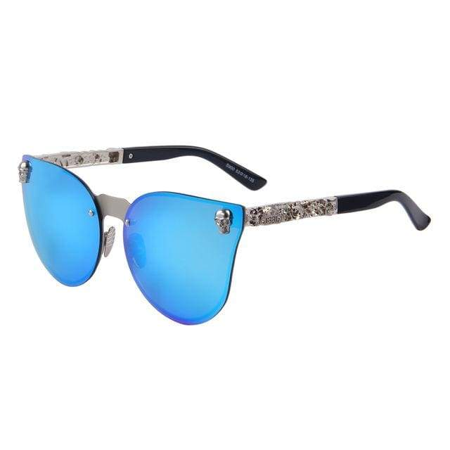 Gothic Metal Skull Frame Cat Eye Sunglasses - C03 Blue