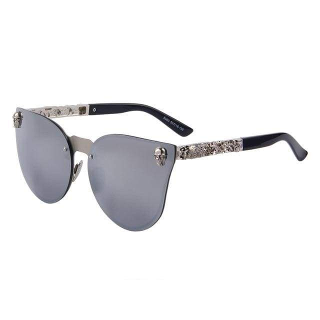 Gothic Metal Skull Frame Cat Eye Sunglasses - C05 Silver