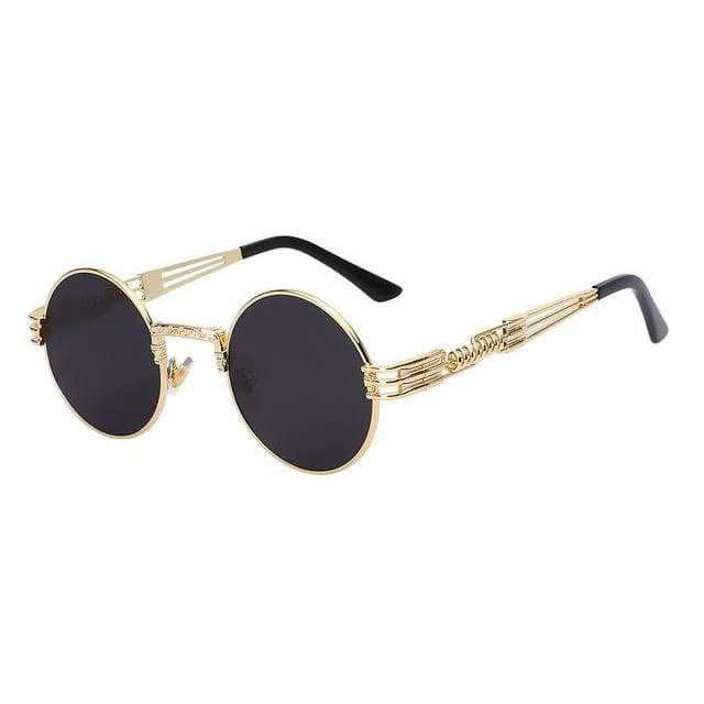 Gothic Steampunk Sunglasses for Women - Gold w black