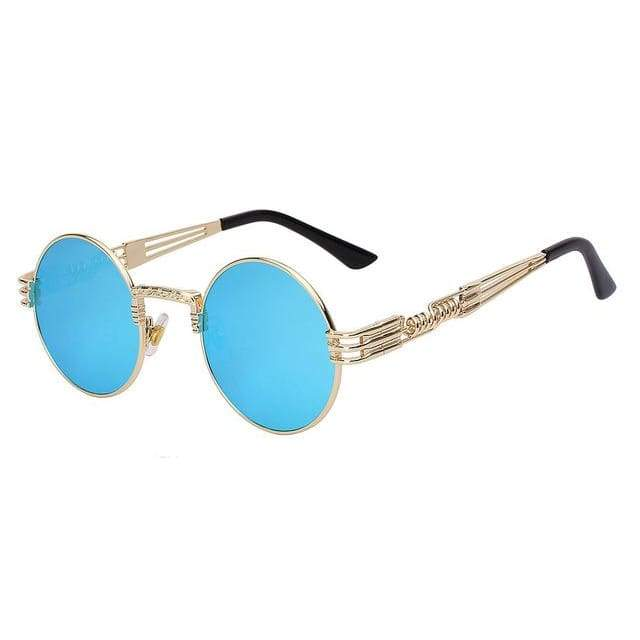 Gothic Steampunk Sunglasses for Women - Gold w blue mirror