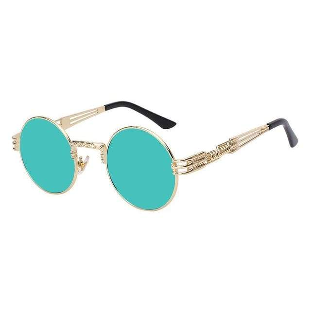 Gothic Steampunk Sunglasses for Women - Gold w green mirror