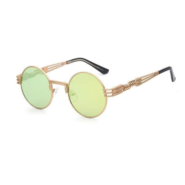 Gothic Steampunk Sunglasses for Women - Gold w lemon mirror