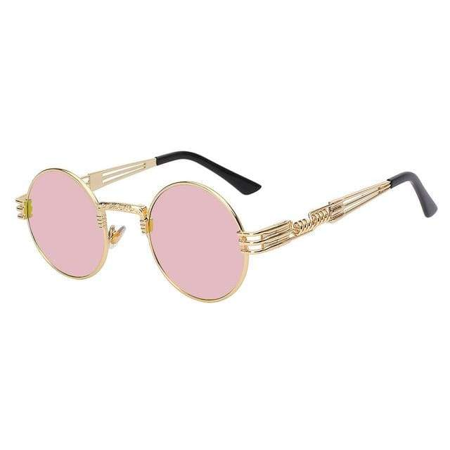 Gothic Steampunk Sunglasses for Women - Gold w pink mirror