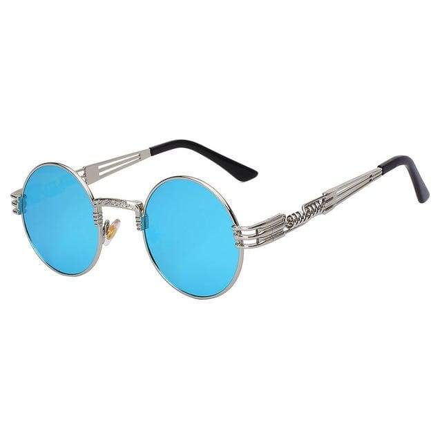 Gothic Steampunk Sunglasses for Women - Silver w blue mir