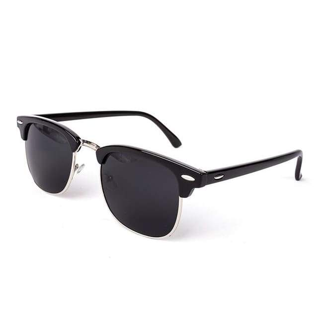 Half Metal Round Mirror Sunglasses - C1 black silver