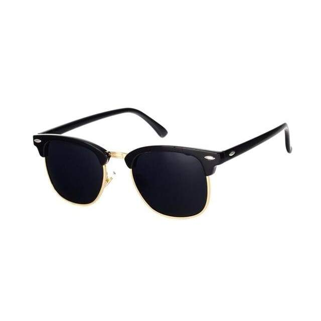 Half Metal Round Mirror Sunglasses - C16 black gold