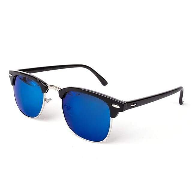 Half Metal Round Mirror Sunglasses - C6 black blue