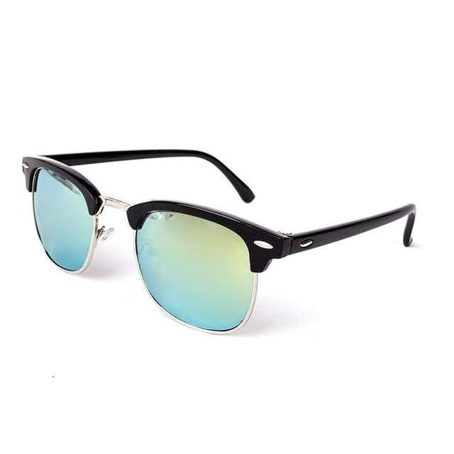 Half Metal Round Mirror Sunglasses - C9 black gold