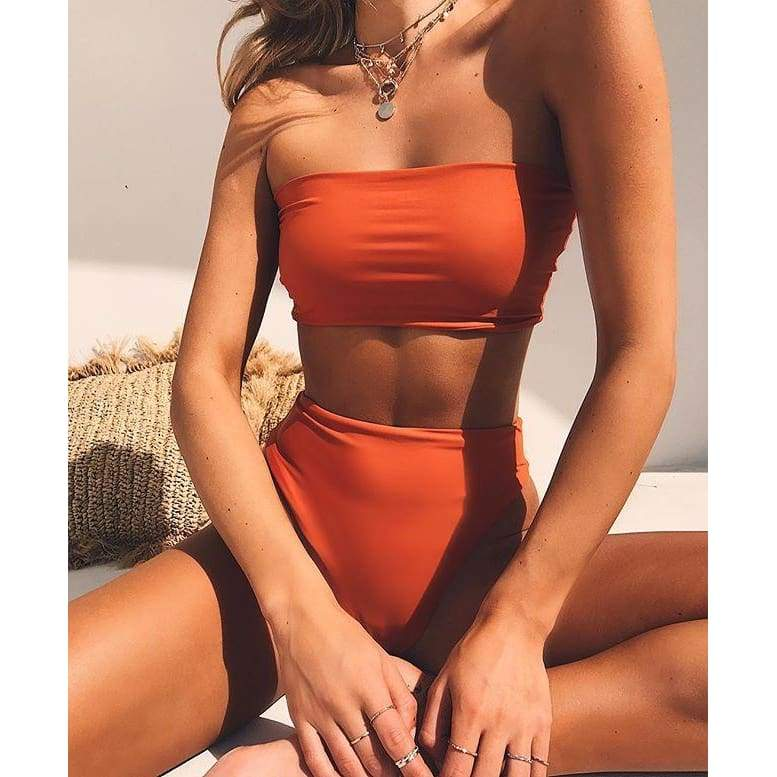 High Waisted Bandeau Bikini