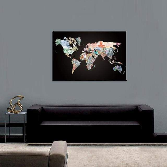 Huge World Map Print On Canvas 1 PCS/Set - 12X18 / A1102