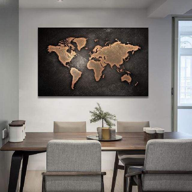 Huge World Map Print On Canvas 1 PCS/Set - 12X18 / A1105