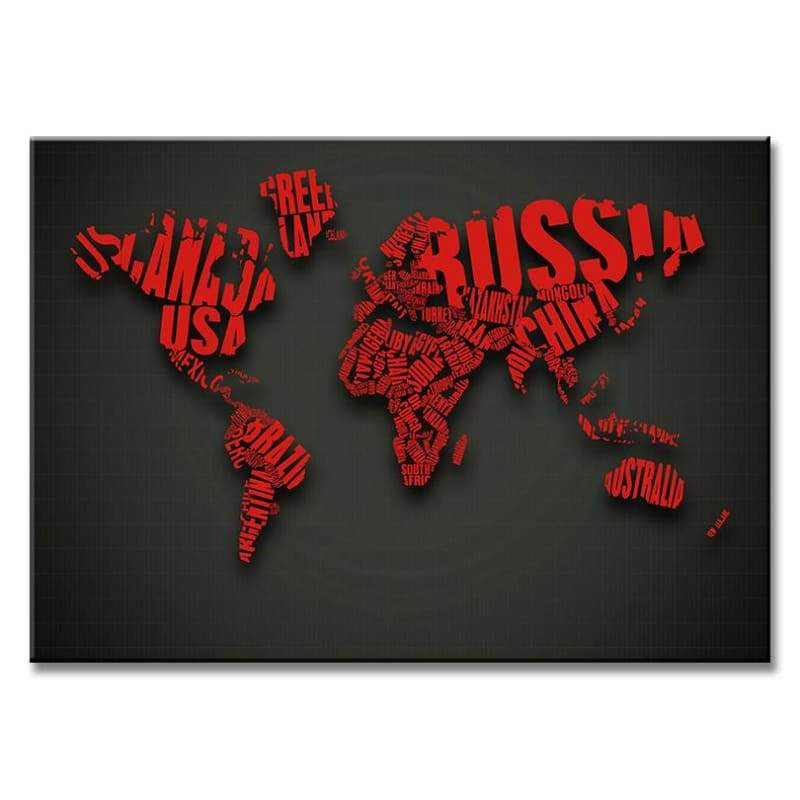 Huge World Map Print On Canvas 1 PCS/Set