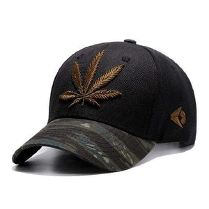 Leaf Embroidered Sports Cap - Brown